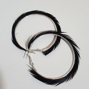 Jewelry - Black Feather lined Silver Large Hoop Earrings